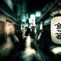 Japan Street Lights iPad Air wallpaper