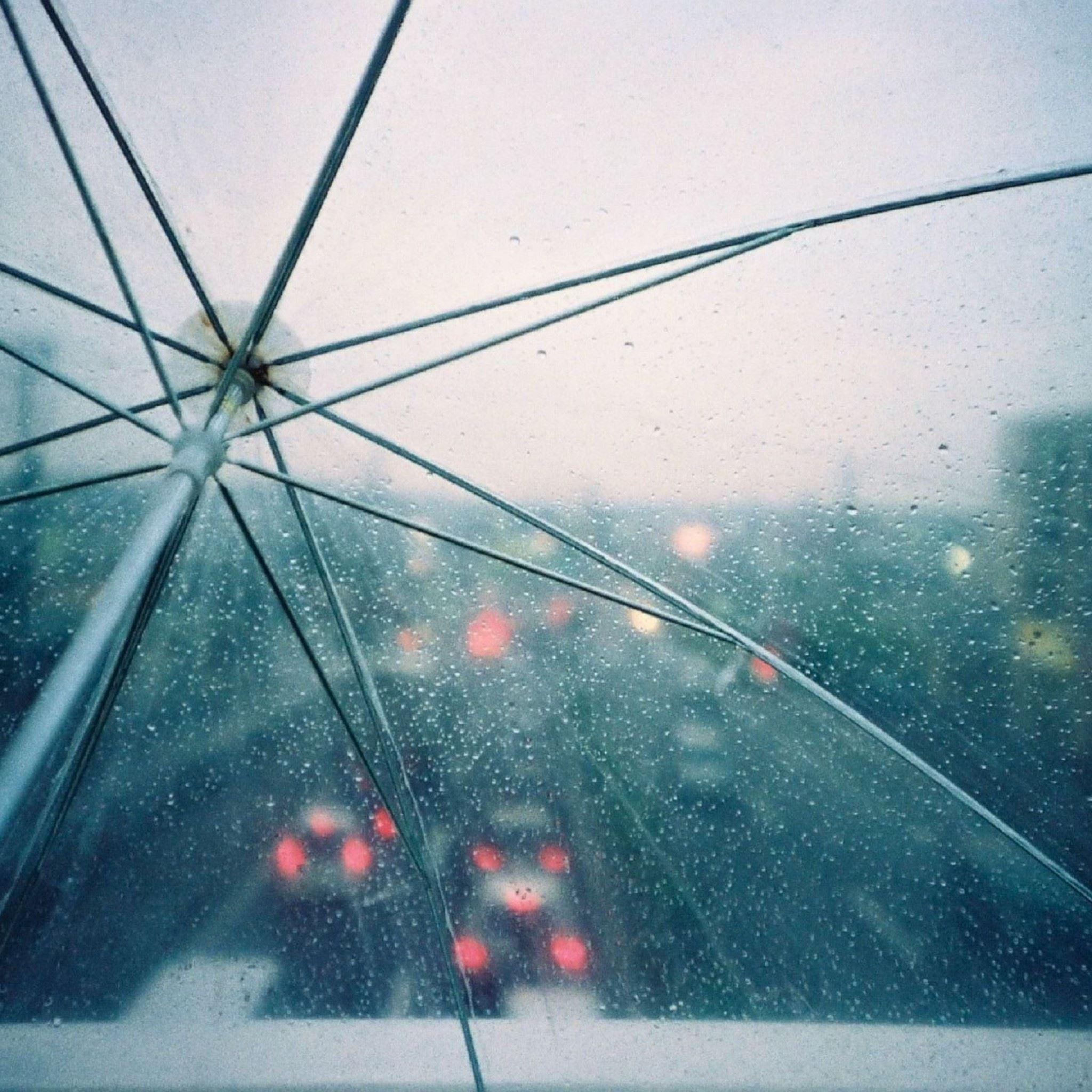 Umbrella Drops Rain Lights iPad Air wallpaper