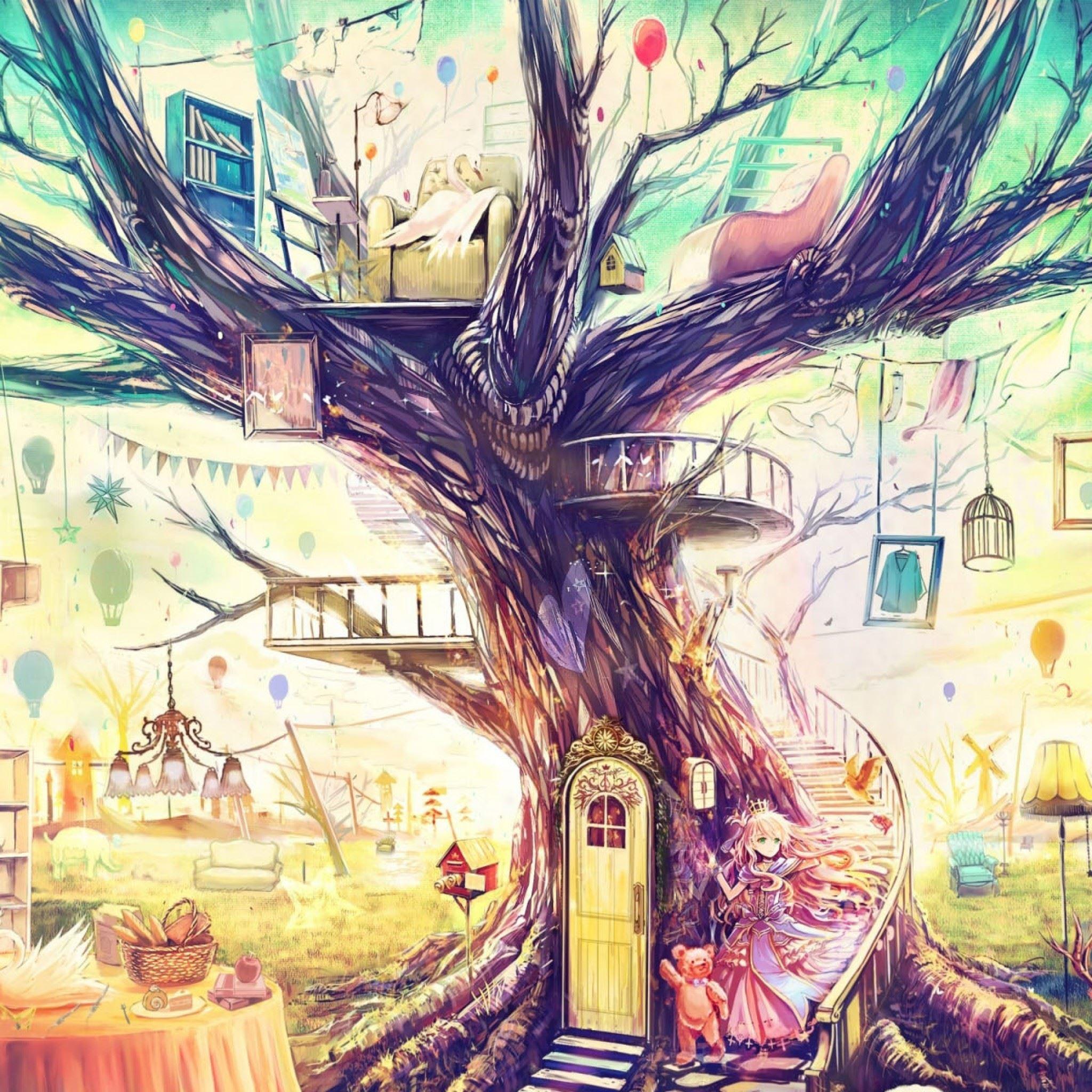 Painting Girl Animal Tree IPad Air Wallpaper