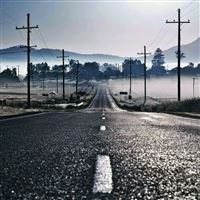 Road Fog Mountain Telegraph Pole iPad Air wallpaper
