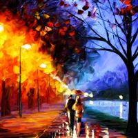 Fire Street Scene Painting iPad Air wallpaper