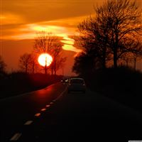 Road To Home In Sunset iPad Air wallpaper