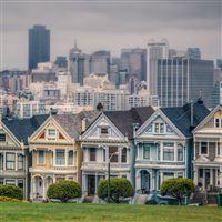 Victorian Houses In Alamo Square San Francisco California USA iPad Air wallpaper