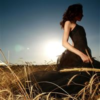 Sun Brunettes Dress Faces Fields iPad Air wallpaper