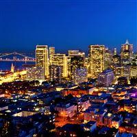 Fantasy Night City View iPad Air wallpaper