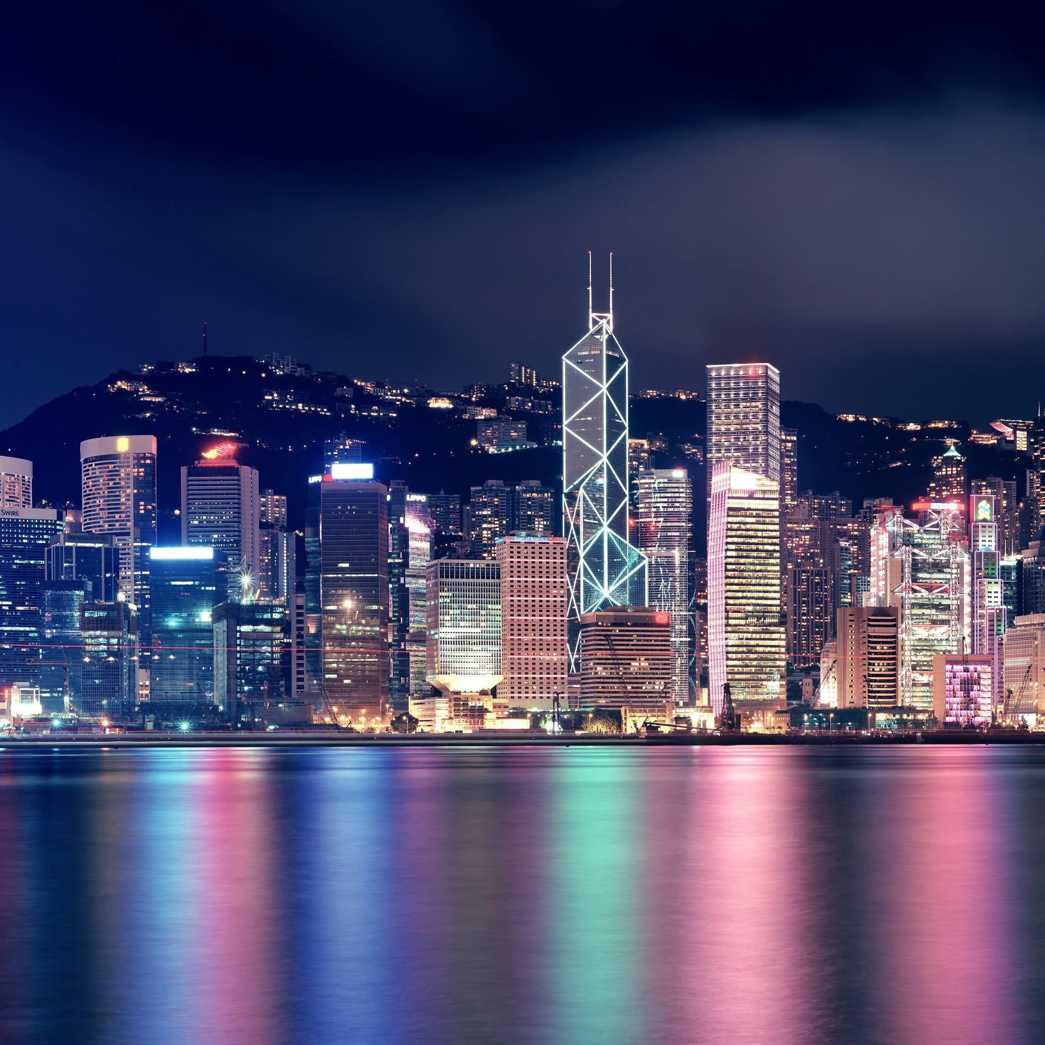 Hong Kong Night Skyscrapers Reflections iPad Air wallpaper