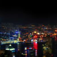 Hongkong Night Cityscapes Lights iPad wallpaper