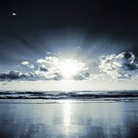 Beach Sunset Black White iPad wallpaper