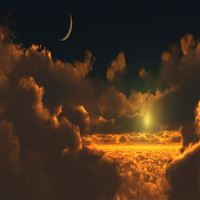 Nature Moon Thick Clouds Skyscape iPad Air wallpaper