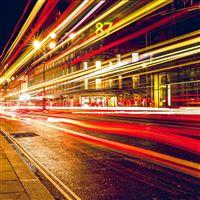 London City Car Lights Night Bokeh Red iPad wallpaper