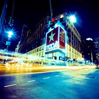 New York City Lights Street Scene iPad wallpaper