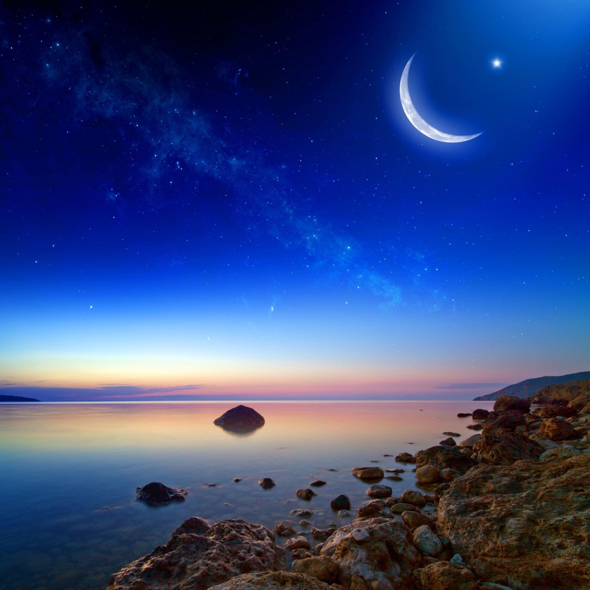 Coastal Moonlight Stars IPad Air Wallpaper Download