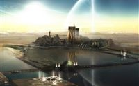 Futuristic Fantasy City iPad Air wallpaper