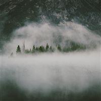 Nature Dark Foggy Lake Mountains Landscape iPad Air wallpaper