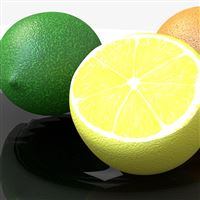 Lime Lemon Orange Citrus 3D iPad wallpaper