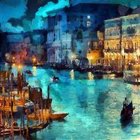 Art Classic Painting Water Lake Night Blue iPad Air wallpaper