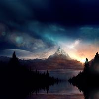 Mountain Nature Fantasy Art Illustration iPad Air wallpaper