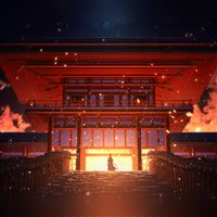 Anime Painting Temple Red Art Illustration iPad wallpaper