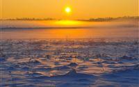 Sunrise Over Skyline Snowy Land iPad Air wallpaper