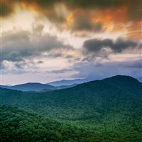 Mountain Morning Forest Green Sky Cloud iPad wallpaper