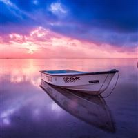Nature Sea Beach Boat Alone Sunset Blue Pink iPad Air wallpaper