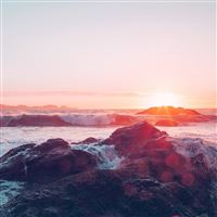 Sea Ocean Nature Sunset Rock Wave Blue Red iPad Air wallpaper