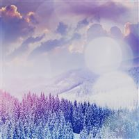 Winter Mountain Snow White Blue Flare Nature iPad Air wallpaper