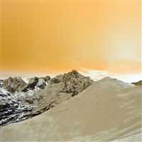 Winter Mountain Snow Gold Nature Orange iPad Air wallpaper