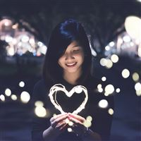 Love Girl Light Dark Night Bokeh iPad wallpaper