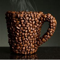 Steaming Coffee Bean Surrounded Cup iPad Air wallpaper