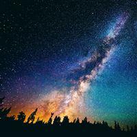 Nature Fantasy Shiny Starry Dark Scenery iPad wallpaper