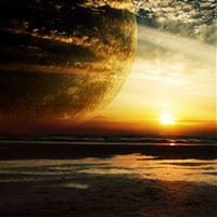 Sunset Sea Rings Planet iPad Air wallpaper
