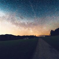 Starry Sky Nature Sunset Mountain Road iPad Air wallpaper