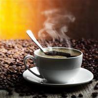 Table Grains Saucer Cup Spoon Coffee Drink Smoke iPad Air wallpaper