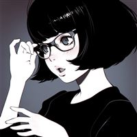 Girl Bw Anime Liya Kuvshinov Illustration Art iPad Air wallpaper