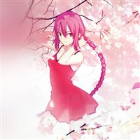 Pink Girl Anime Art Illustration Flower Blossom Flare iPad Air wallpaper