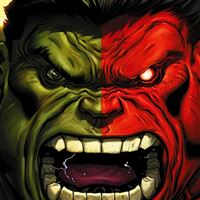 Hulk Red Anger Cartoon Illustration Art Dark iPad Air wallpaper