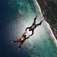 Skydivers Parachuting Stunt iPad wallpaper
