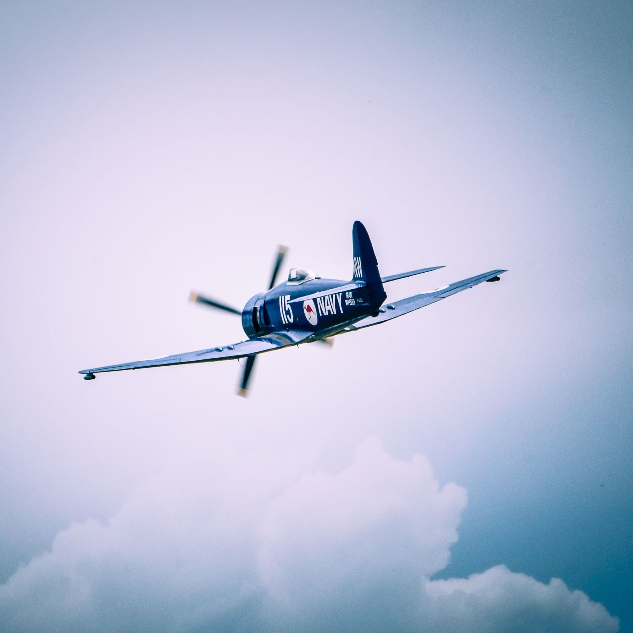 Airplane Flying Sky Clouds iPad Air wallpaper