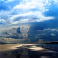 Sea Ocean Evening Beach Sand Sky Clouds iPad Air wallpaper