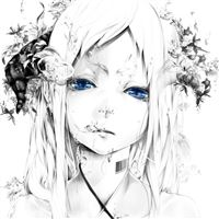 Art Bouno Satoshi Girl Face White Background Graphic Monochrome Blue Eyes Water Bubbles iPad Air wallpaper