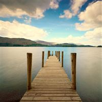 Pier River Mountain Distance Sky iPad wallpaper