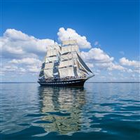 Sea Sail Ship Clouds iPad Air wallpaper