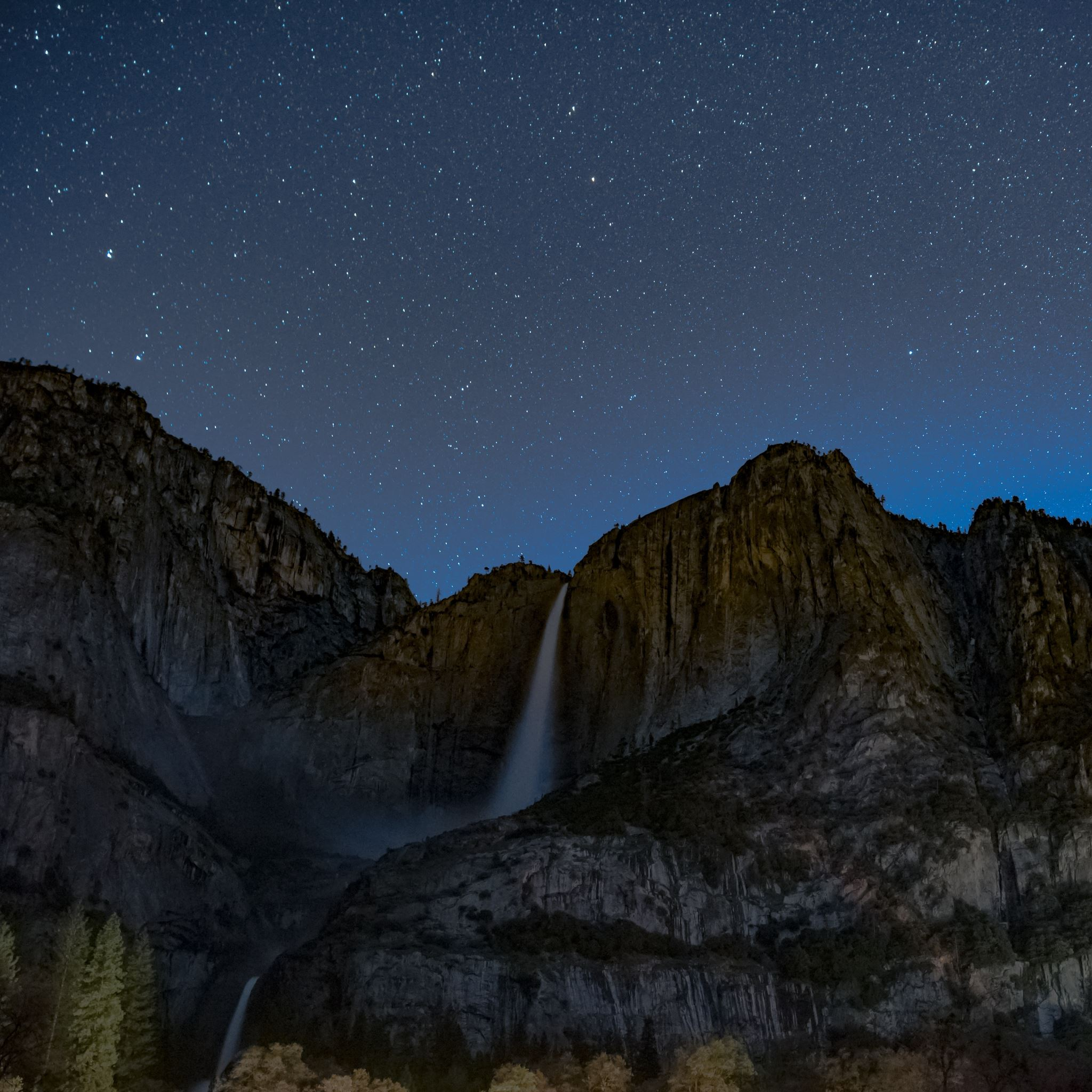 Starry Sky Precipice Waterfall iPad Air wallpaper