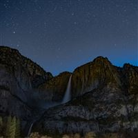 Starry Sky Precipice Waterfall iPad Air wallpaper