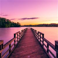 Pier Lake Sunset Sky iPad Air wallpaper