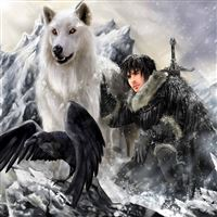 The Song Of Ice And Fire Game Of Thrones Jon Snow Ghost Direwolf Stark Clan iPad Air wallpaper