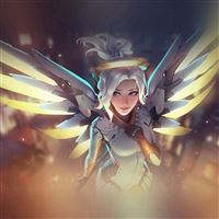 Mercy Overwatch Angel Healer Game Art Illustration iPad Air wallpaper