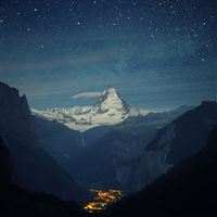 Switzerland Alps Mountains Night Beautiful Landscape iPad wallpaper