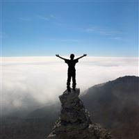 Silhouette People Rocks Sky Top iPad Air wallpaper